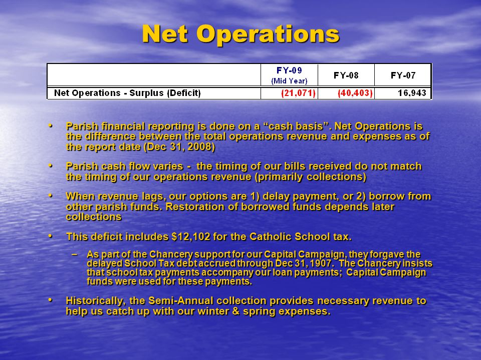 Net Operations Parish financial reporting is done on a cash basis .