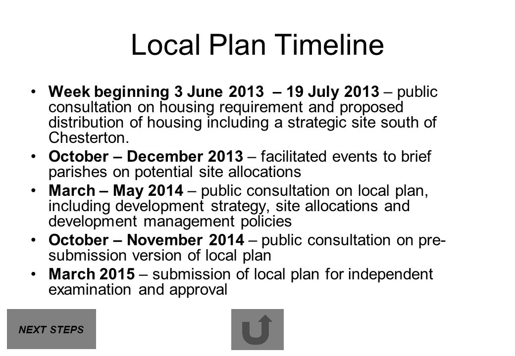 Local Plan Timeline Week beginning 3 June 2013 – 19 July 2013 – public consultation on housing requirement and proposed distribution of housing includ