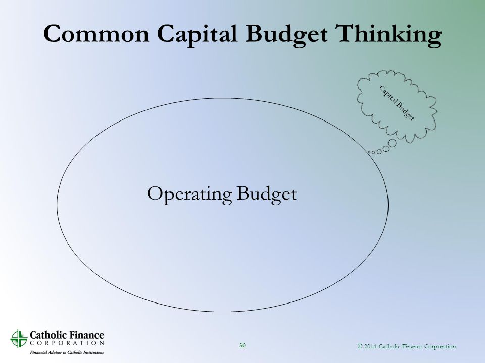 © 2014 Catholic Finance Corporation 30 Common Capital Budget Thinking Operating Budget Capital Budget