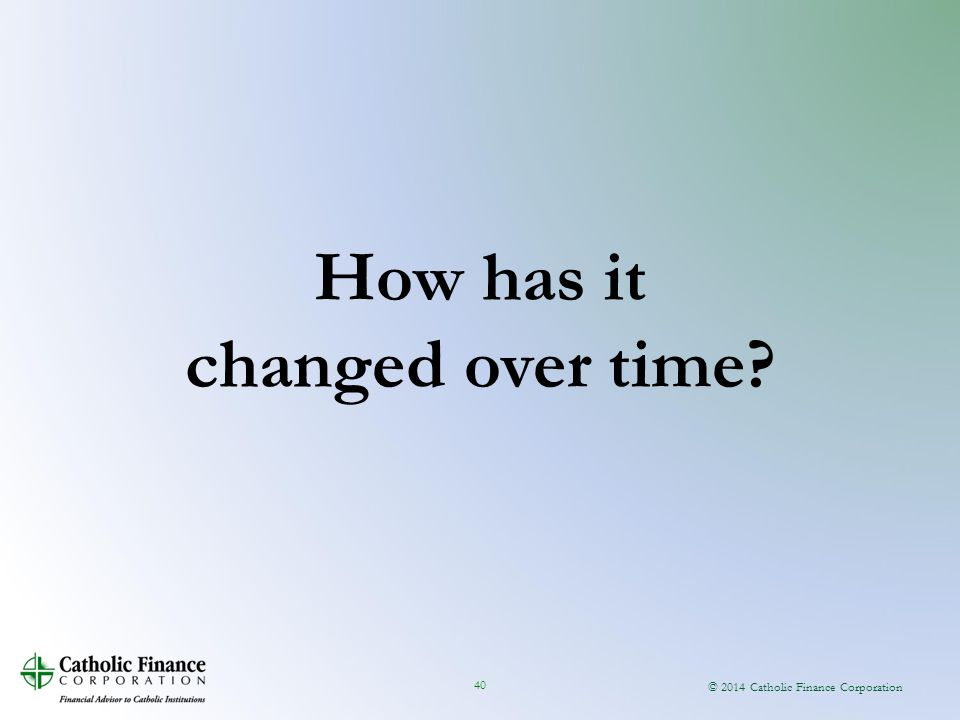 © 2014 Catholic Finance Corporation 40 How has it changed over time?