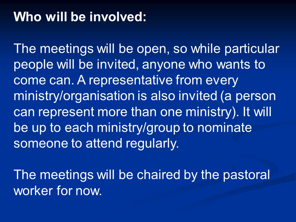 How will the meetings be organised: There will be about four meetings a year.