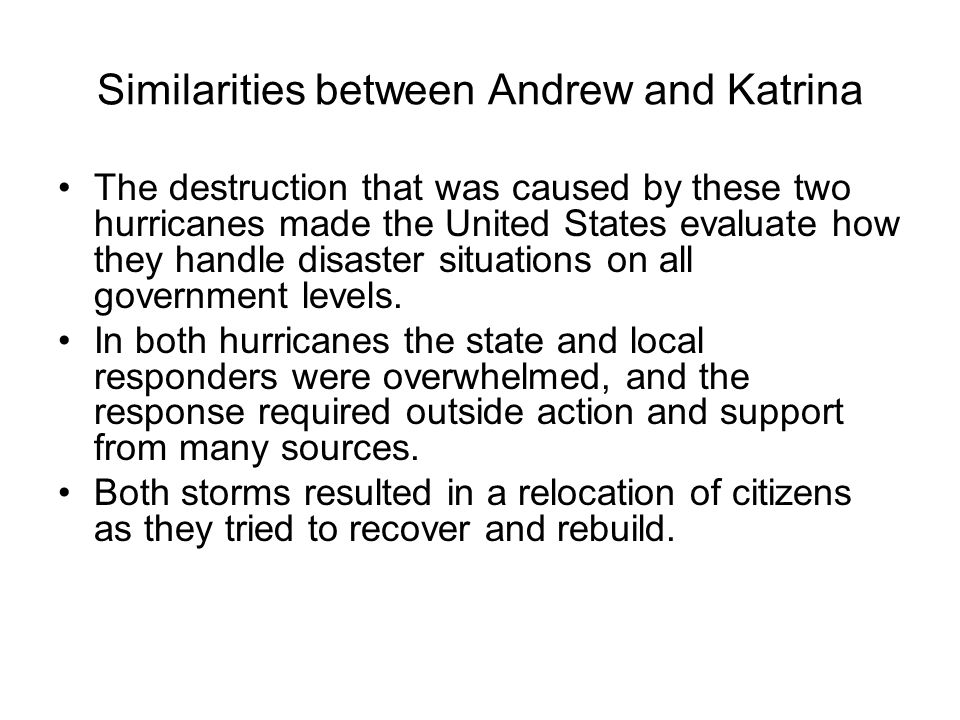 Response The American Red Cross did not provide much assistance to the poor, primarily minority communities following both Hurricanes.