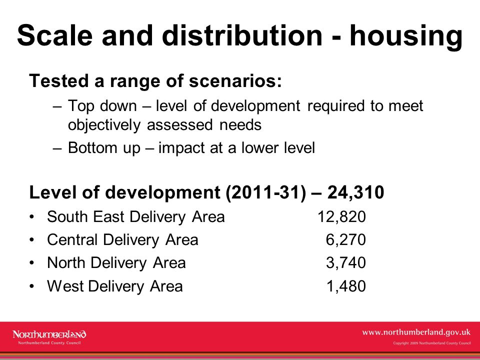 www.northumberland.gov.uk Copyright 2009 Northumberland County Council Scale and distribution - housing Tested a range of scenarios: –Top down – level of development required to meet objectively assessed needs –Bottom up – impact at a lower level Level of development (2011-31) – 24,310 South East Delivery Area12,820 Central Delivery Area 6,270 North Delivery Area 3,740 West Delivery Area 1,480