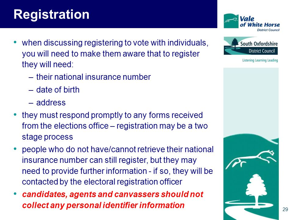 Registration when discussing registering to vote with individuals, you will need to make them aware that to register they will need: –their national insurance number –date of birth –address they must respond promptly to any forms received from the elections office – registration may be a two stage process people who do not have/cannot retrieve their national insurance number can still register, but they may need to provide further information - if so, they will be contacted by the electoral registration officer candidates, agents and canvassers should not collect any personal identifier information 29