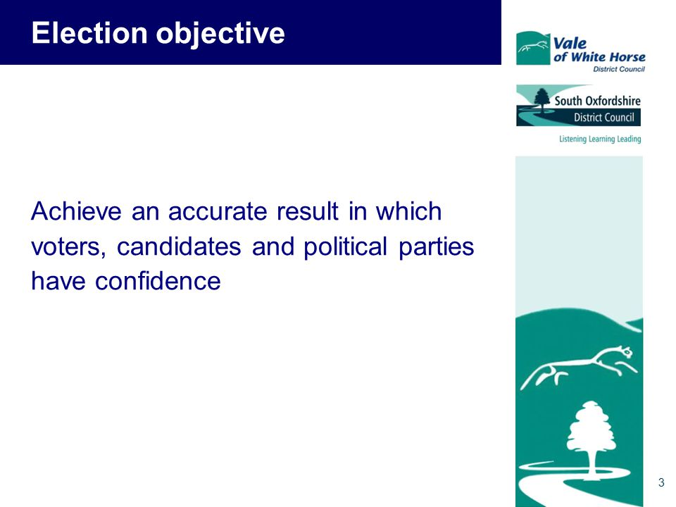 3 Election objective Achieve an accurate result in which voters, candidates and political parties have confidence