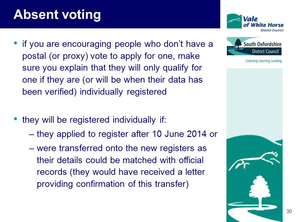 Absent voting if you are encouraging people who don't have a postal (or proxy) vote to apply for one, make sure you explain that they will only qualify for one if they are (or will be when their data has been verified) individually registered they will be registered individually if: –they applied to register after 10 June 2014 or –were transferred onto the new registers as their details could be matched with official records (they would have received a letter providing confirmation of this transfer) 30