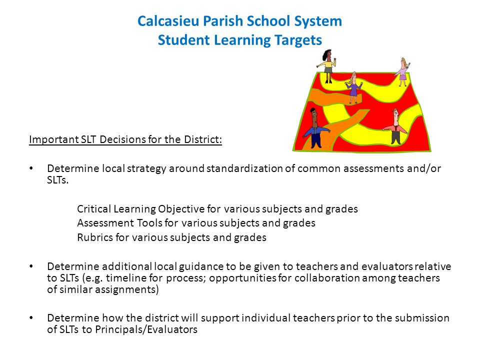 Calcasieu Parish School System Student Learning Targets Important SLT Decisions for the District: Determine local strategy around standardization of common assessments and/or SLTs.