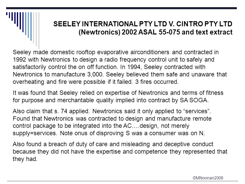 ©MNoonan2008 SEELEY INTERNATIONAL PTY LTD V.