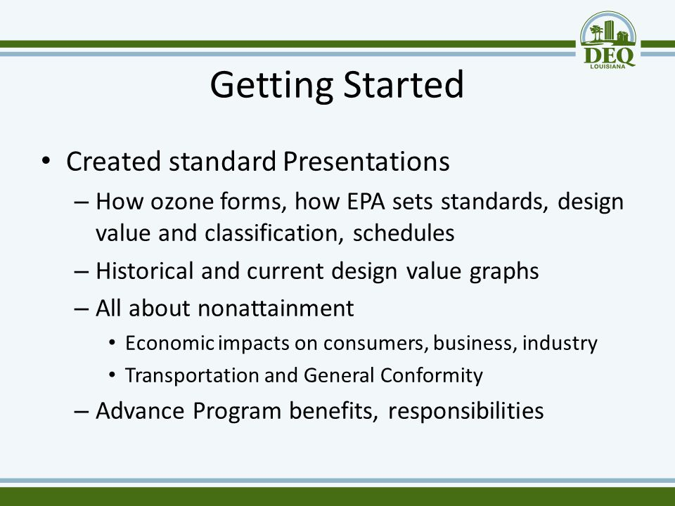 Getting Started Created standard Presentations – How ozone forms, how EPA sets standards, design value and classification, schedules – Historical and