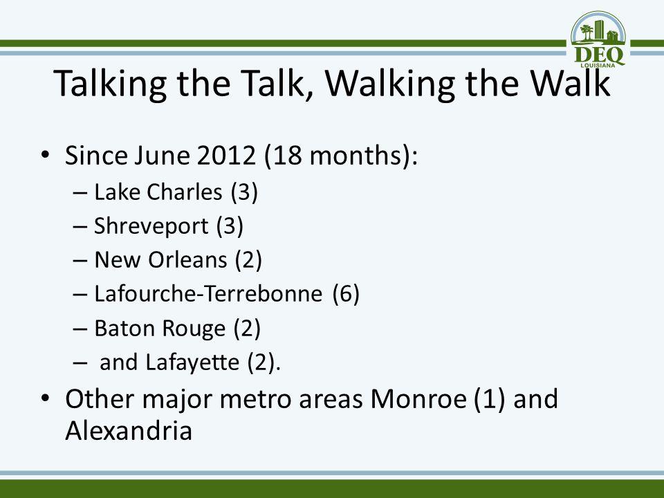 Talking the Talk, Walking the Walk Since June 2012 (18 months): – Lake Charles (3) – Shreveport (3) – New Orleans (2) – Lafourche-Terrebonne (6) – Bat