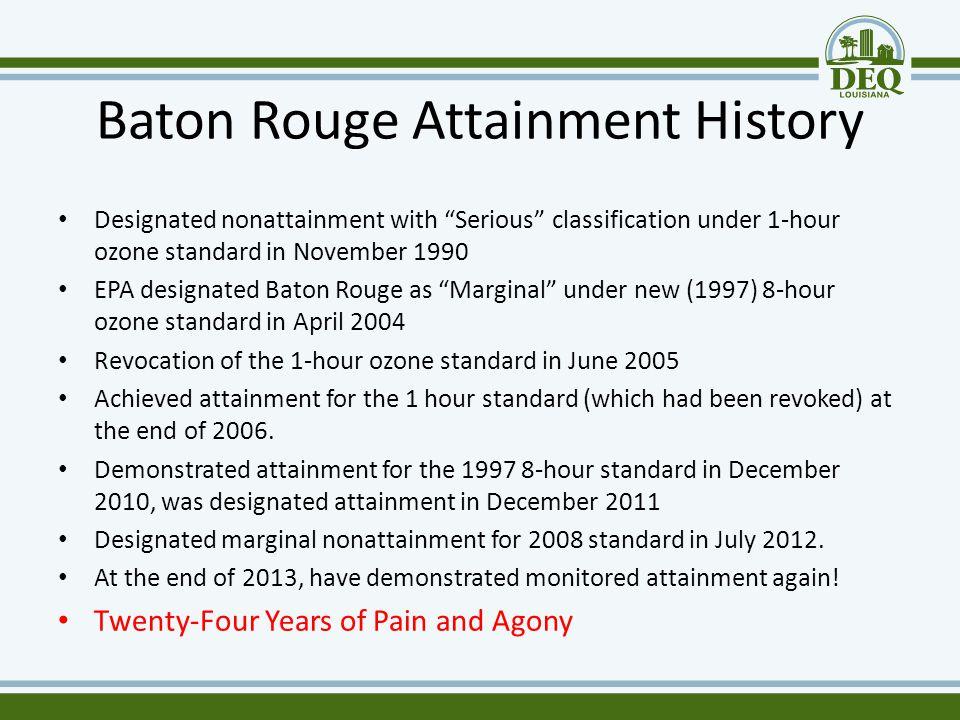 "Baton Rouge Attainment History Designated nonattainment with ""Serious"" classification under 1-hour ozone standard in November 1990 EPA designated Bato"
