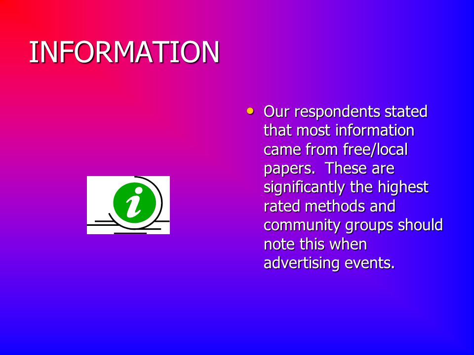 INFORMATION Our respondents stated that most information came from free/local papers.