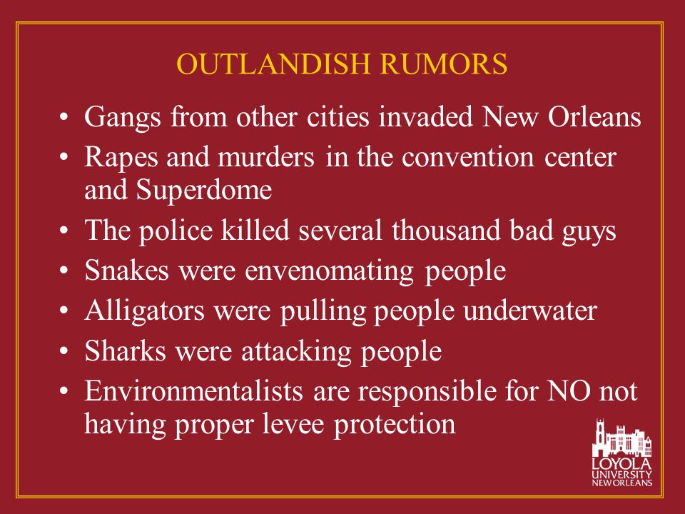 OUTLANDISH RUMORS Gangs from other cities invaded New Orleans Rapes and murders in the convention center and Superdome The police killed several thousand bad guys Snakes were envenomating people Alligators were pulling people underwater Sharks were attacking people Environmentalists are responsible for NO not having proper levee protection