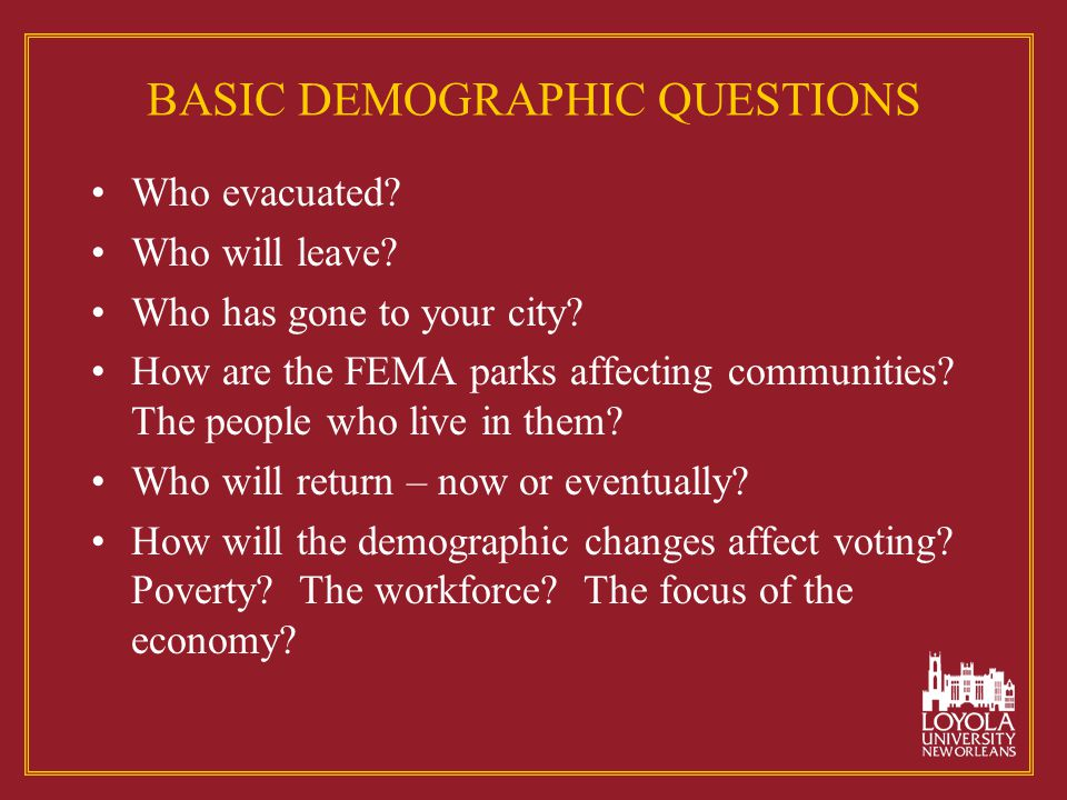 BASIC DEMOGRAPHIC QUESTIONS Who evacuated.Who will leave.
