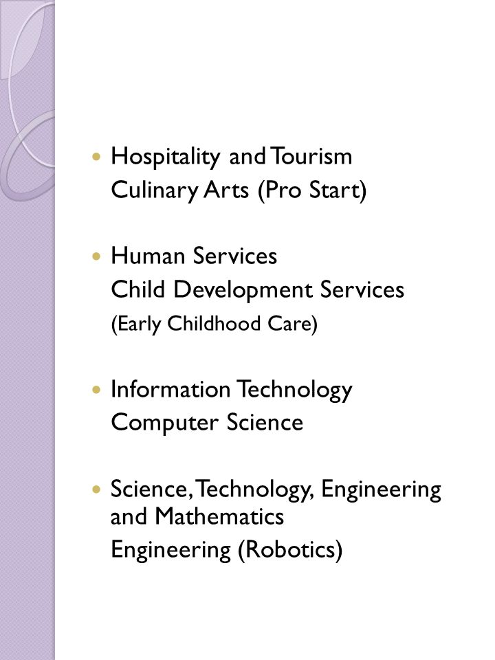 Hospitality and Tourism Culinary Arts (Pro Start) Human Services Child Development Services (Early Childhood Care) Information Technology Computer Sci
