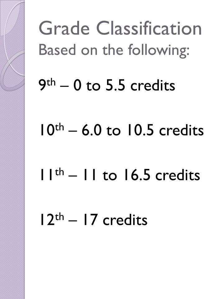 Grade Classification Based on the following: 9 th – 0 to 5.5 credits 10 th – 6.0 to 10.5 credits 11 th – 11 to 16.5 credits 12 th – 17 credits