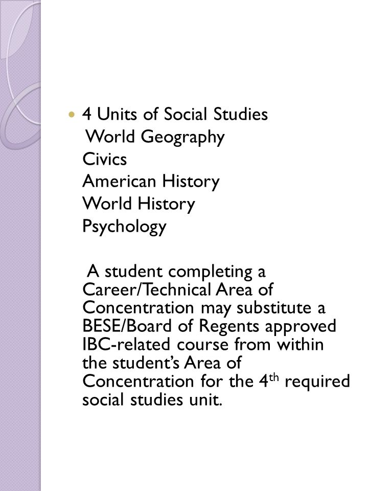 4 Units of Social Studies World Geography Civics American History World History Psychology A student completing a Career/Technical Area of Concentrati