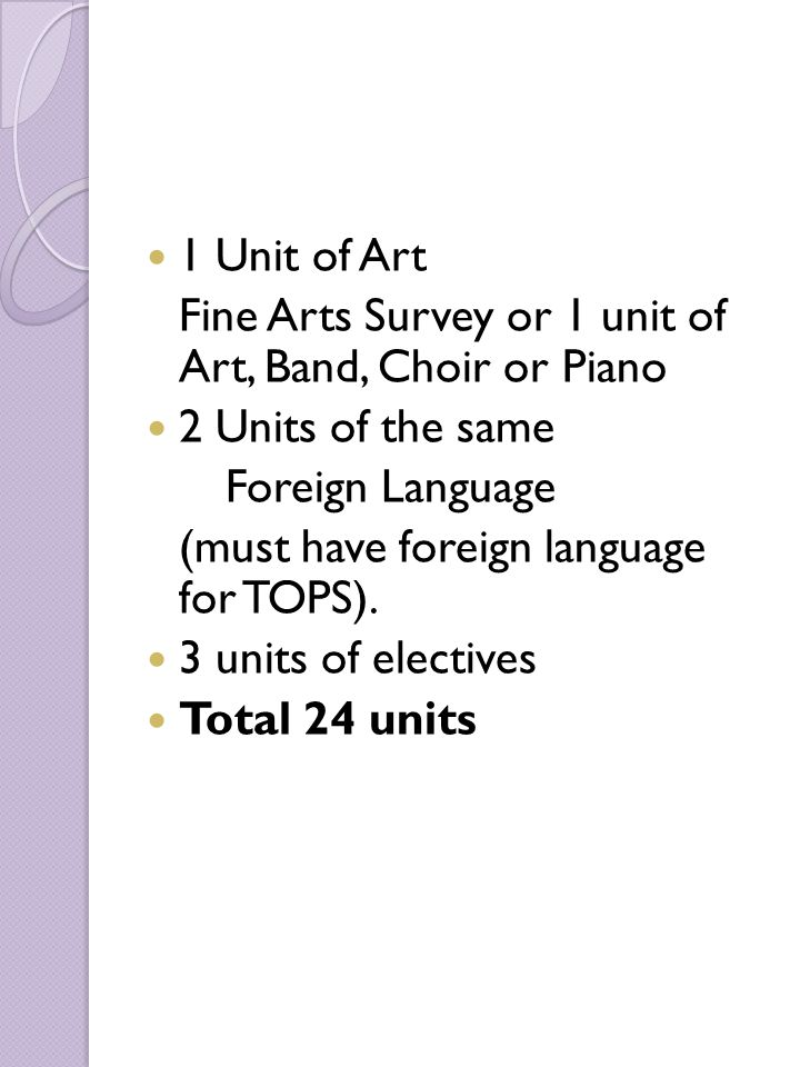 1 Unit of Art Fine Arts Survey or 1 unit of Art, Band, Choir or Piano 2 Units of the same Foreign Language (must have foreign language for TOPS). 3 un