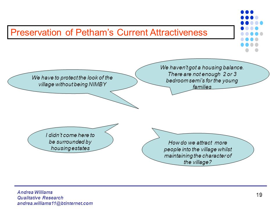 Andrea Williams Qualitative Research andrea.williams11@btinternet.com 19 Preservation of Petham's Current Attractiveness I didn't come here to be surrounded by housing estates We haven't got a housing balance.
