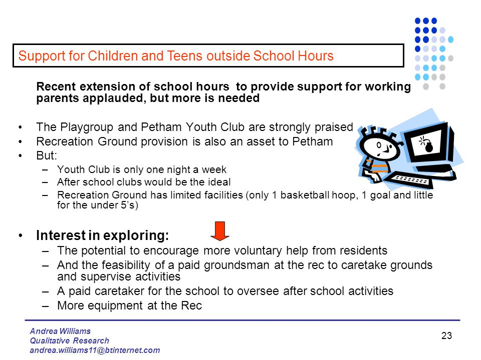 Andrea Williams Qualitative Research andrea.williams11@btinternet.com 23 Recent extension of school hours to provide support for working parents applauded, but more is needed The Playgroup and Petham Youth Club are strongly praised Recreation Ground provision is also an asset to Petham But: –Youth Club is only one night a week –After school clubs would be the ideal –Recreation Ground has limited facilities (only 1 basketball hoop, 1 goal and little for the under 5's) Interest in exploring: –The potential to encourage more voluntary help from residents –And the feasibility of a paid groundsman at the rec to caretake grounds and supervise activities –A paid caretaker for the school to oversee after school activities –More equipment at the Rec Support for Children and Teens outside School Hours