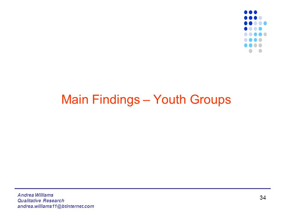 Andrea Williams Qualitative Research andrea.williams11@btinternet.com 34 Main Findings – Youth Groups