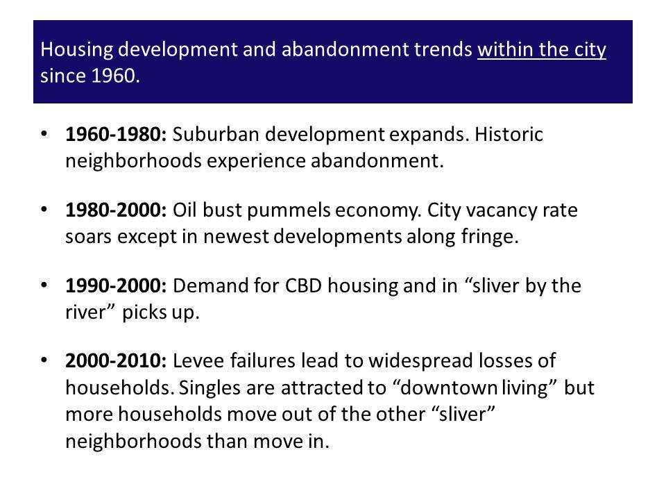 1960-1980: Suburban development expands.Historic neighborhoods experience abandonment.