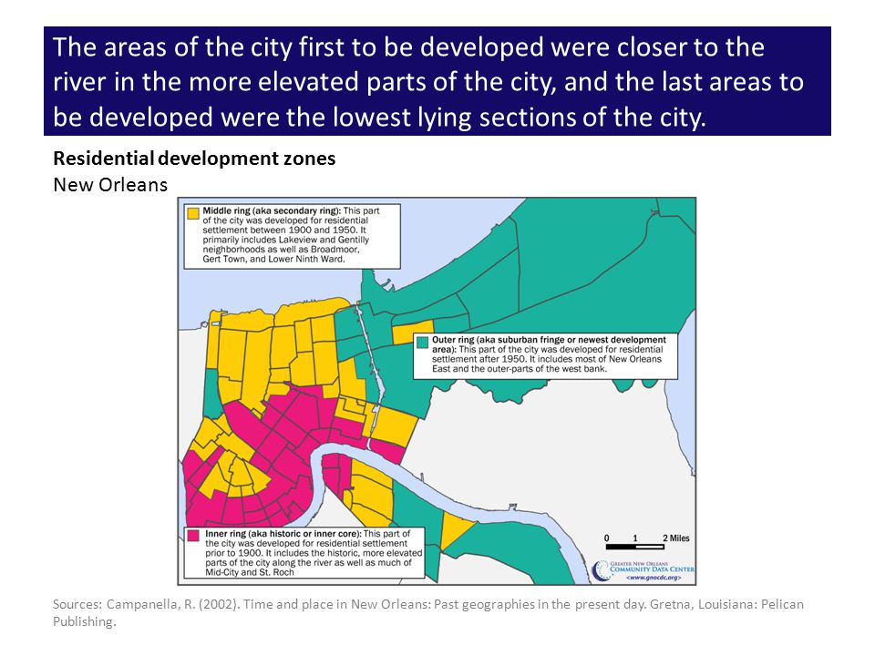 The areas of the city first to be developed were closer to the river in the more elevated parts of the city, and the last areas to be developed were the lowest lying sections of the city.