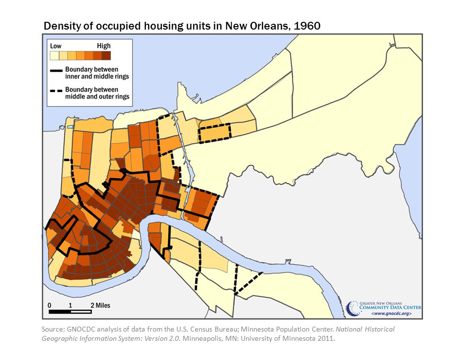 Density of occupied housing units in New Orleans, 1960 Source: GNOCDC analysis of data from the U.S.