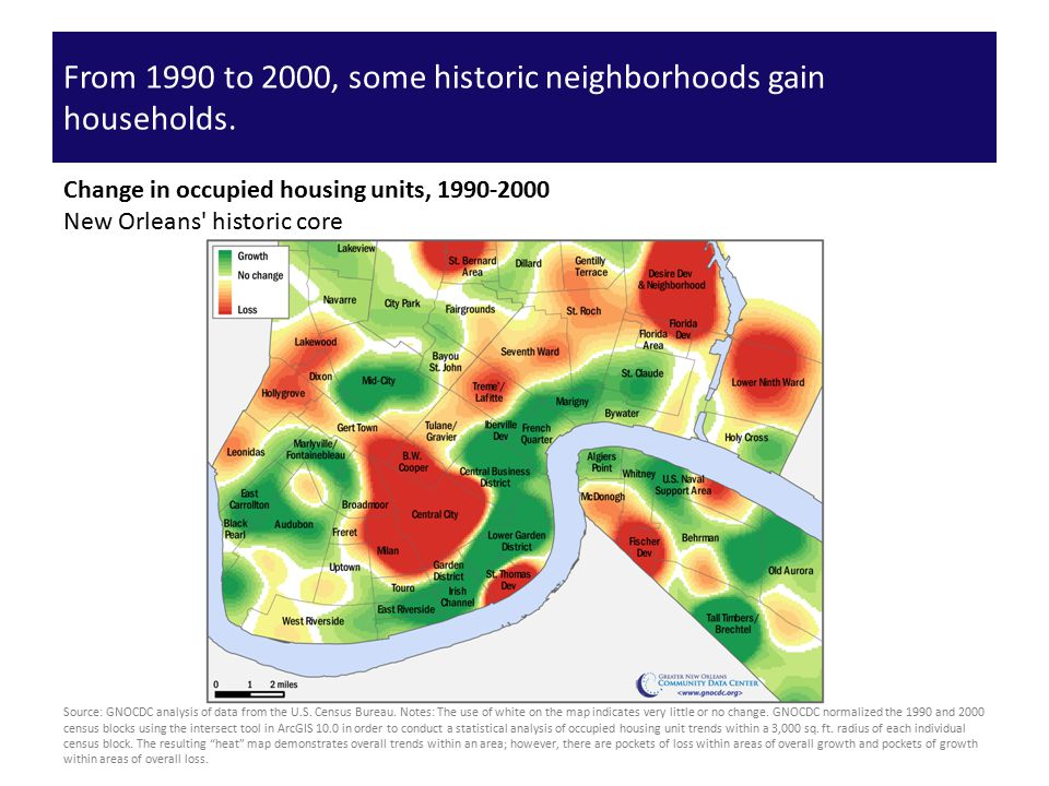 From 1990 to 2000, some historic neighborhoods gain households.