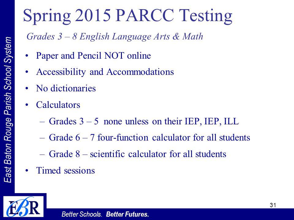 East Baton Rouge Parish School System Better Schools. Better Futures. Spring 2015 PARCC Testing Grades 3 – 8 English Language Arts & Math 31 Paper and