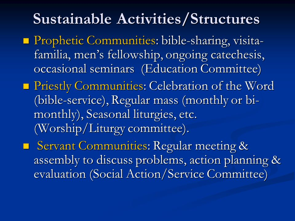 Sustainable Activities/Structures Prophetic Communities: bible-sharing, visita- familia, men's fellowship, ongoing catechesis, occasional seminars (Ed