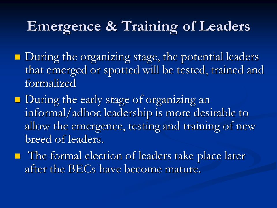Emergence & Training of Leaders During the organizing stage, the potential leaders that emerged or spotted will be tested, trained and formalized Duri