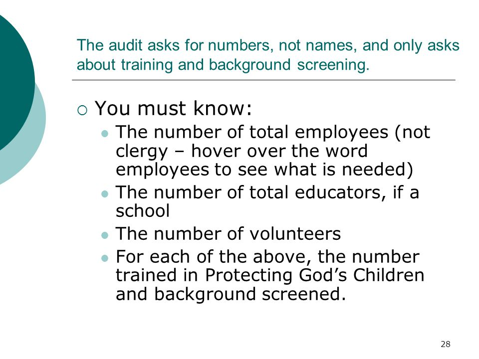 29 A pastor or principal must sign a piece of paper with the numbers on it, for our USCCB audit.