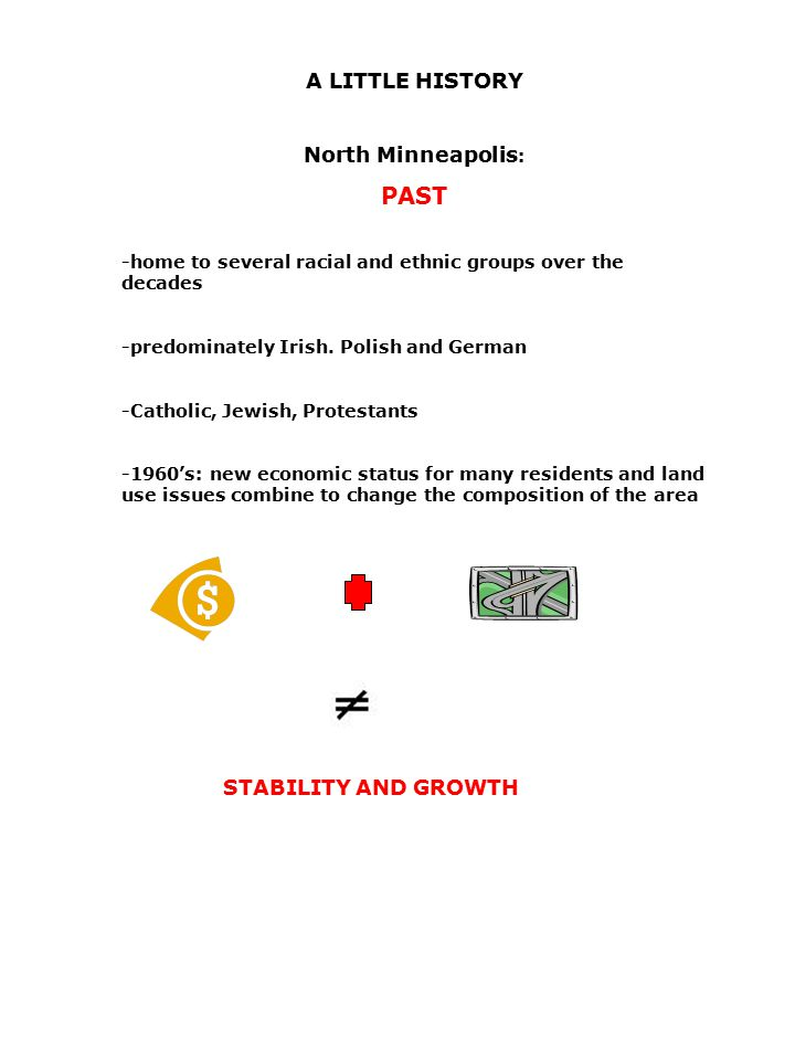 A LITTLE HISTORY North Minneapolis : PAST -home to several racial and ethnic groups over the decades -predominately Irish.