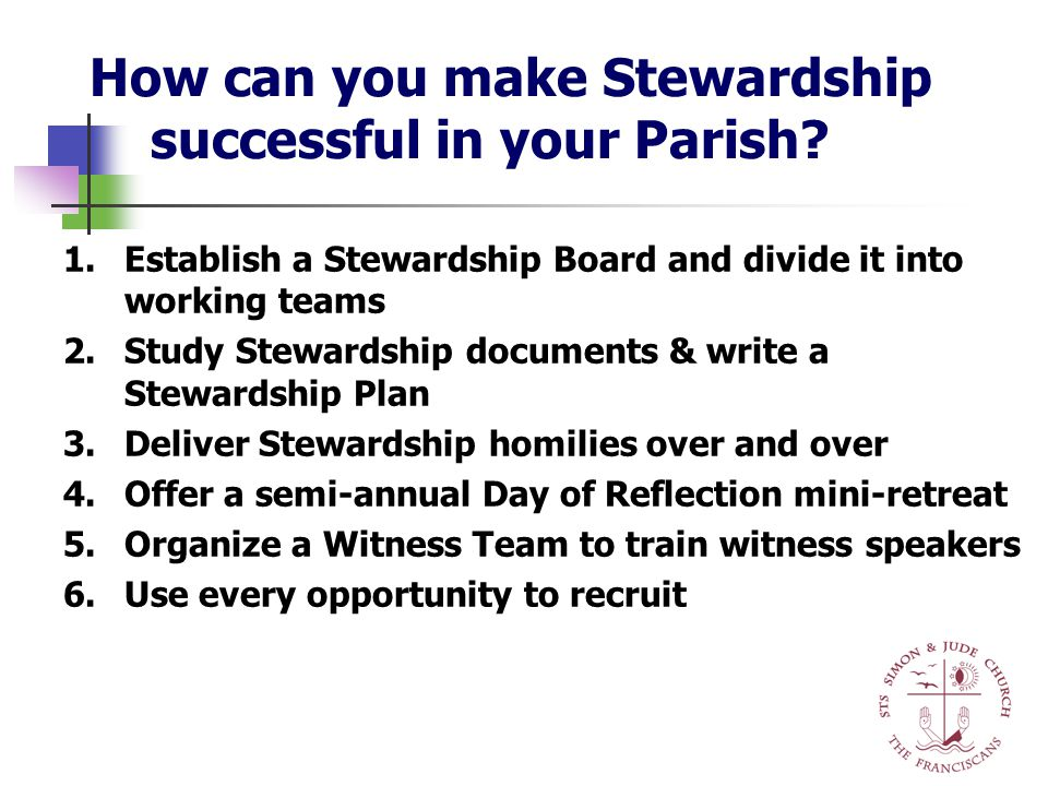 1.Establish a Stewardship Board and divide it into working teams 2.Study Stewardship documents & write a Stewardship Plan 3.Deliver Stewardship homilies over and over 4.Offer a semi-annual Day of Reflection mini-retreat 5.Organize a Witness Team to train witness speakers 6.Use every opportunity to recruit