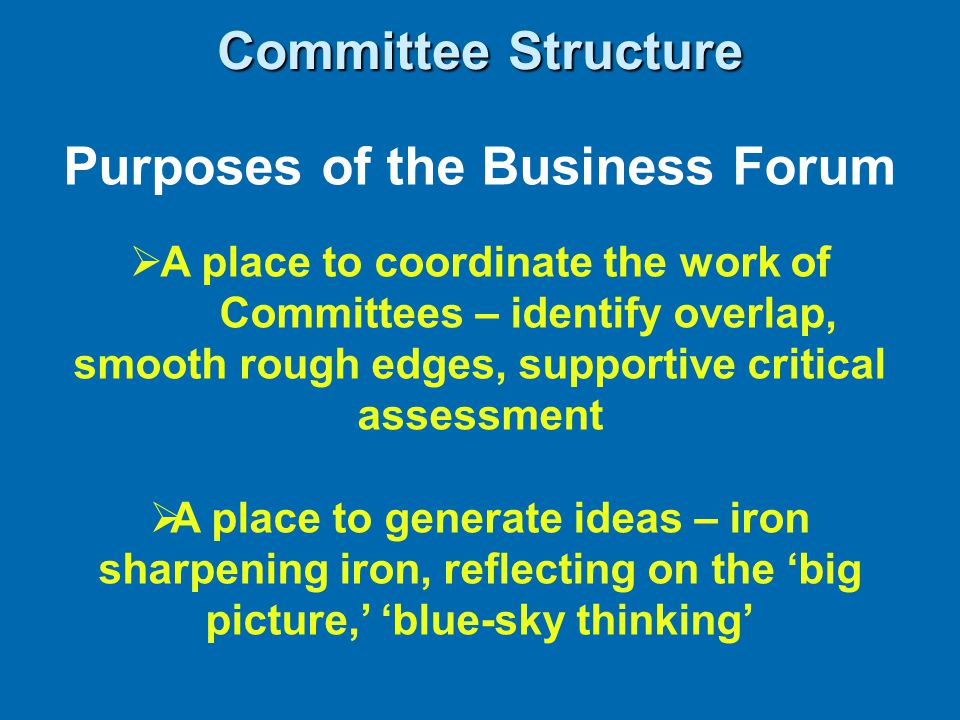 Purposes of the Business Forum  A place to coordinate the work of Committees – identify overlap, smooth rough edges, supportive critical assessment  A place to generate ideas – iron sharpening iron, reflecting on the 'big picture,' 'blue-sky thinking' Committee Structure