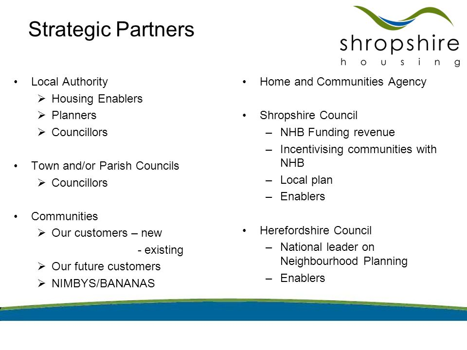 Strategic Partners Local Authority  Housing Enablers  Planners  Councillors Town and/or Parish Councils  Councillors Communities  Our customers – new - existing  Our future customers  NIMBYS/BANANAS Home and Communities Agency Shropshire Council –NHB Funding revenue –Incentivising communities with NHB –Local plan –Enablers Herefordshire Council –National leader on Neighbourhood Planning –Enablers