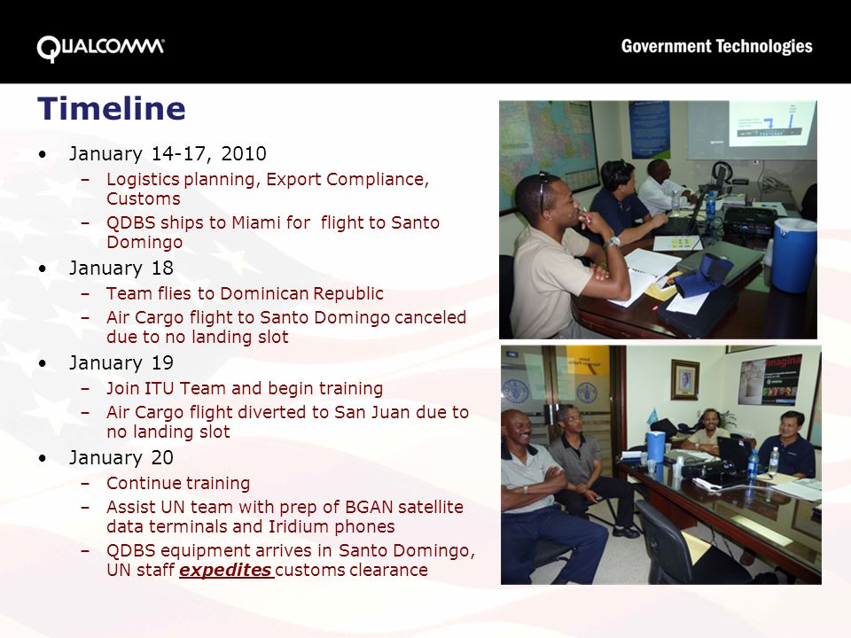 Timeline January 14-17, 2010 –Logistics planning, Export Compliance, Customs –QDBS ships to Miami for flight to Santo Domingo January 18 –Team flies t