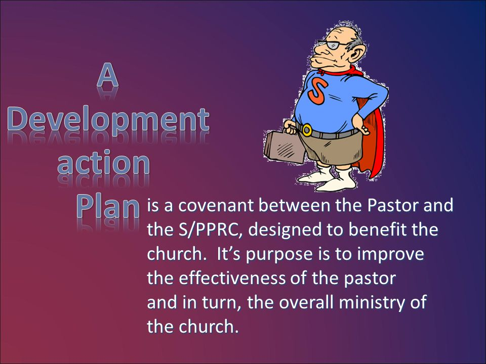 is a covenant between the Pastor and the S/PPRC, designed to benefit the church. It's purpose is to improve the effectiveness of the pastor and in tur