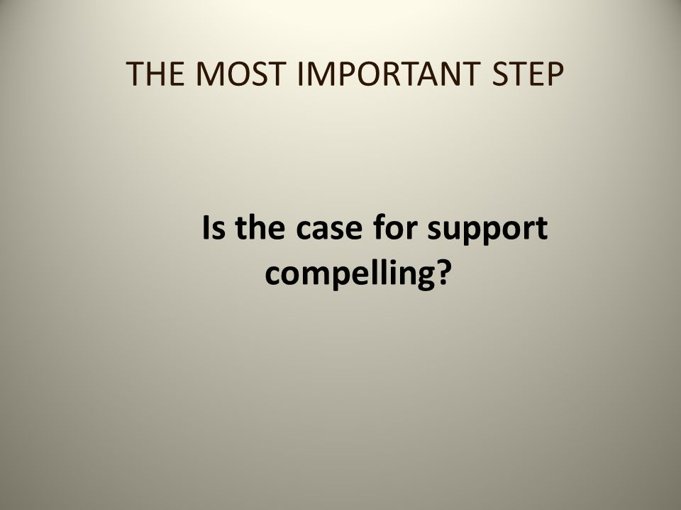 TESTING THE CASE FOR SUPPORT Select some key parishioners and get their feedback on the case for support you develop before launching to the congregation at large The biggest question to ask them is: Is this Case for Support compelling.