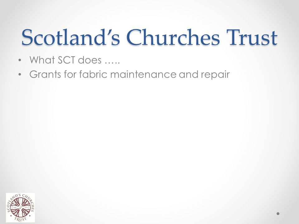 Scotland's Churches Trust Scotland has 3500 places of worship Twice the number of churches per head of the population than England SCT looks to raise awareness of these Places of Worship