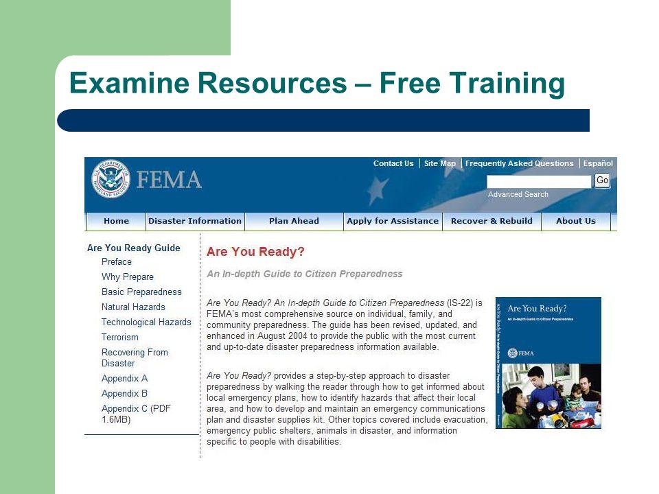 Examine Resources – Free Training Are You Ready - FEMA