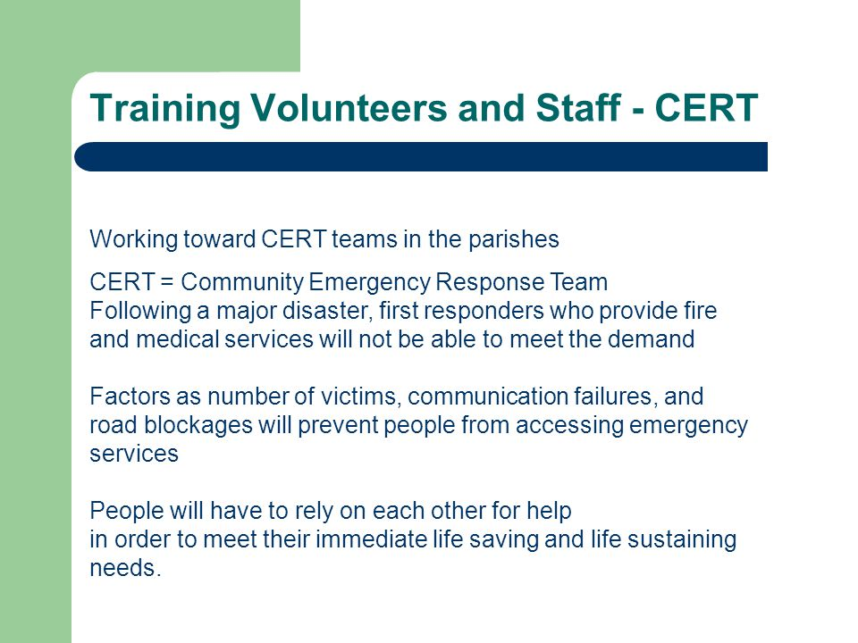 Training Volunteers and Staff - CERT Are You Ready.