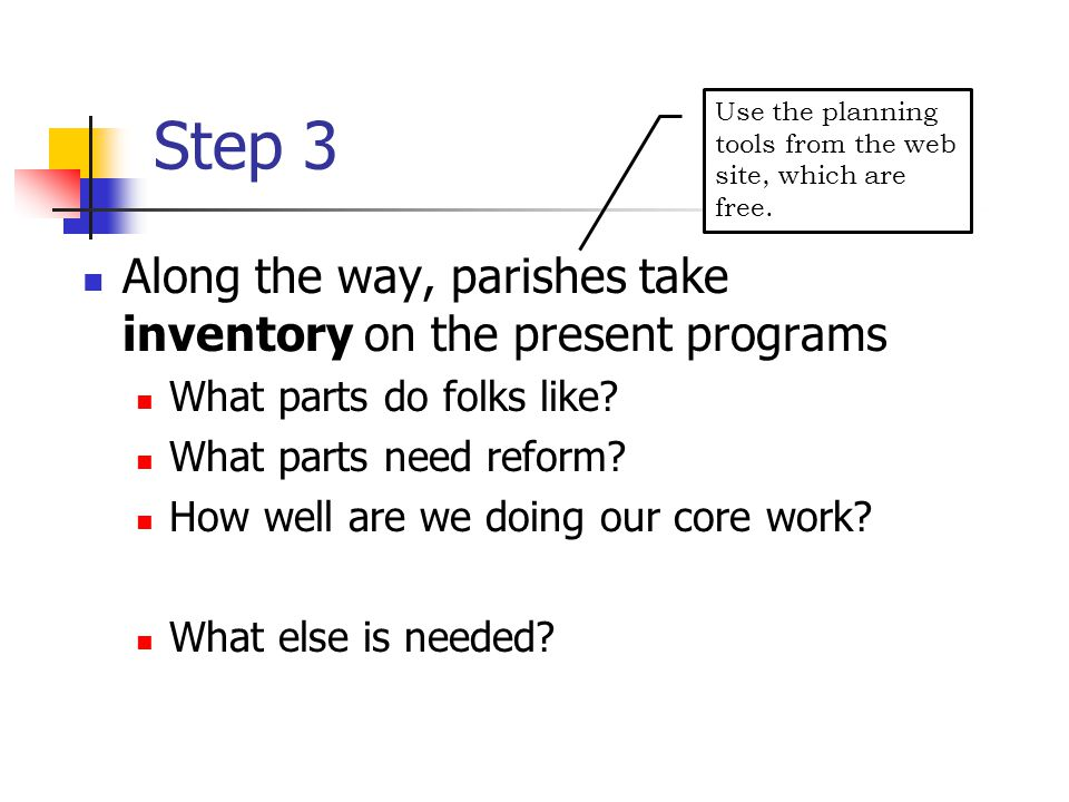 Step 3 Along the way, parishes take inventory on the present programs What parts do folks like.