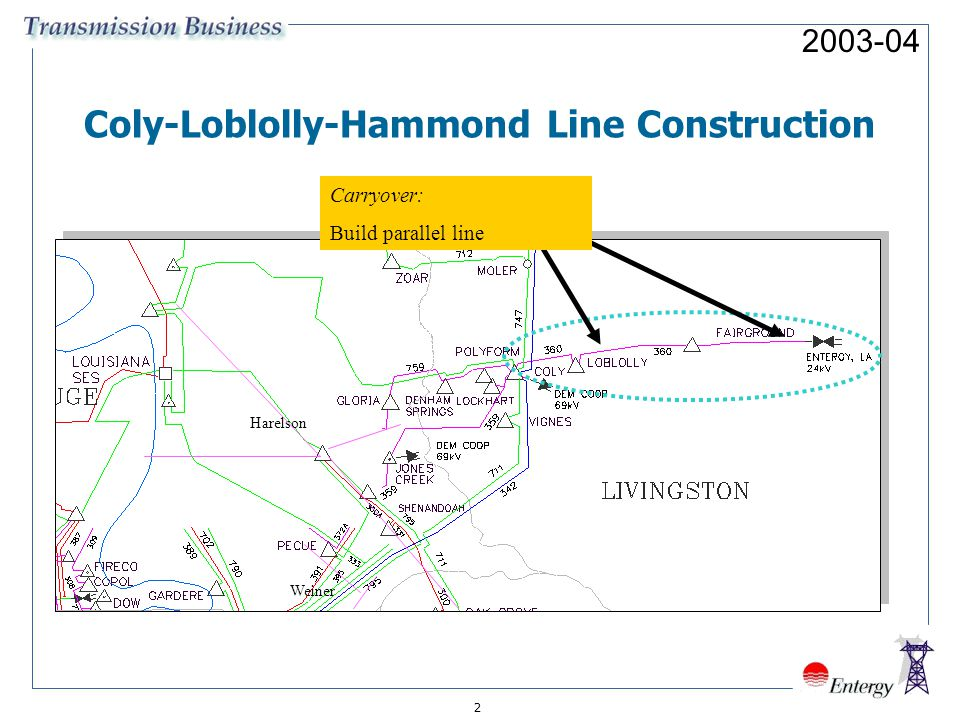 Harelson Weiner Coly-Loblolly-Hammond Line Construction Carryover: Build parallel line