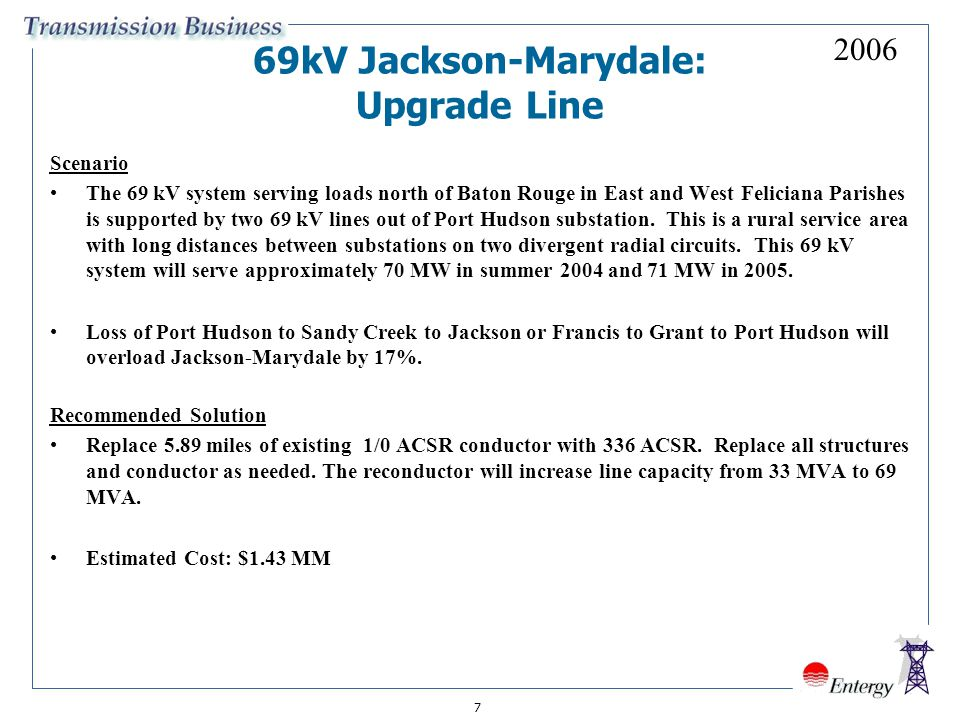 7 69kV Jackson-Marydale: Upgrade Line Scenario The 69 kV system serving loads north of Baton Rouge in East and West Feliciana Parishes is supported by two 69 kV lines out of Port Hudson substation.