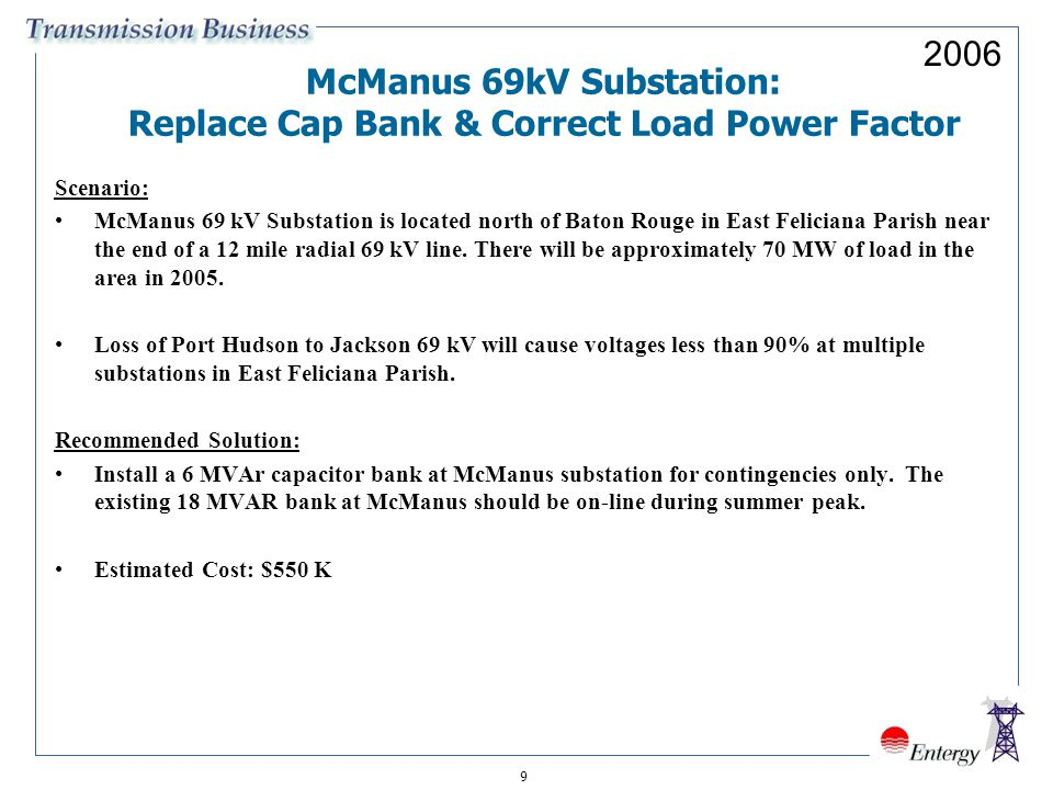 9 McManus 69kV Substation: Replace Cap Bank & Correct Load Power Factor Scenario: McManus 69 kV Substation is located north of Baton Rouge in East Feliciana Parish near the end of a 12 mile radial 69 kV line.