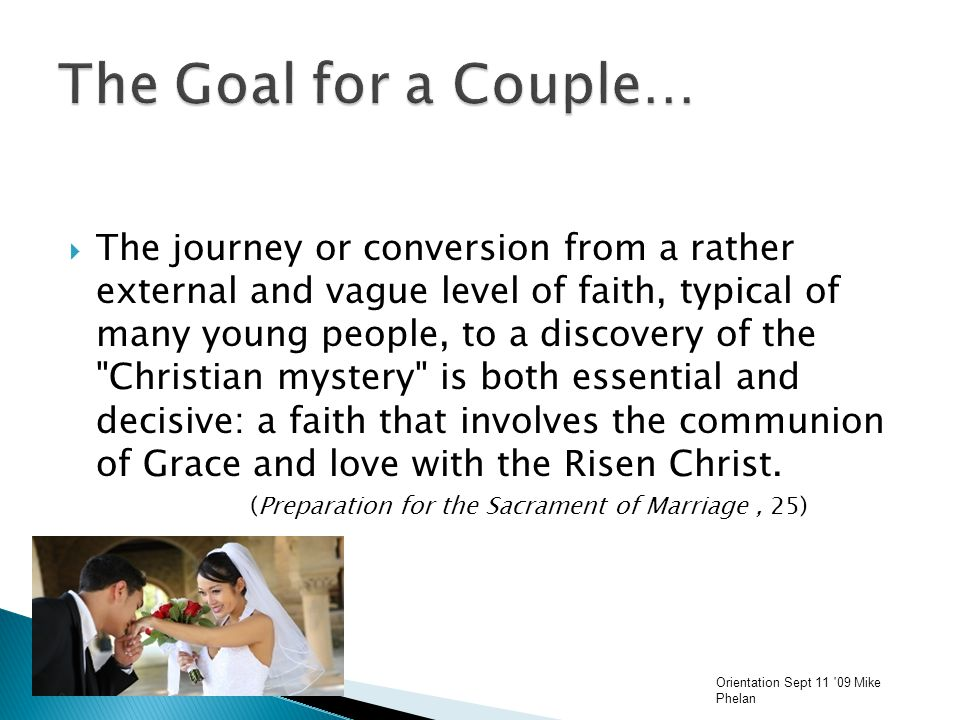  The journey or conversion from a rather external and vague level of faith, typical of many young people, to a discovery of the Christian mystery is both essential and decisive: a faith that involves the communion of Grace and love with the Risen Christ.