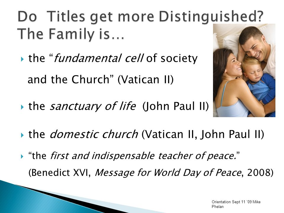  the fundamental cell of society and the Church (Vatican II)  the sanctuary of life (John Paul II)  the domestic church (Vatican II, John Paul II)  the first and indispensable teacher of peace. (Benedict XVI, Message for World Day of Peace, 2008) Orientation Sept 11 09 Mike Phelan