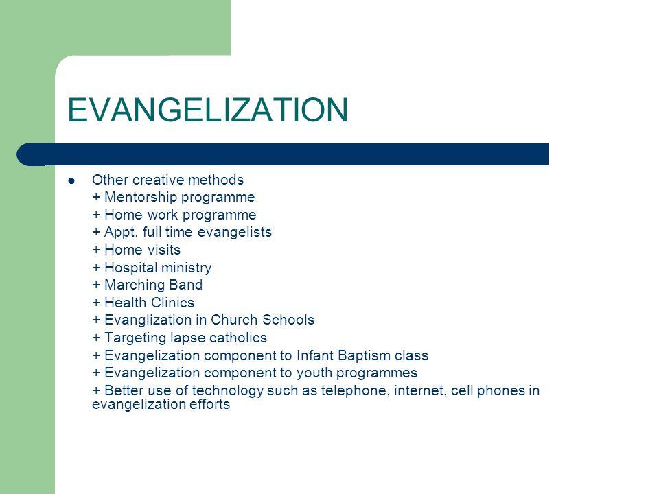 EVANGELIZATION Other creative methods + Mentorship programme + Home work programme + Appt.